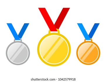 Set of gold medal, silver and bronze. Medals icons in flat style isolated on blue background. Medals Vector