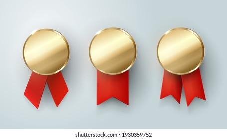 set of gold medals. Champion.  winner trophy, golden medal ,sport , first, best , red ribbon ,coin ,prize, vector .