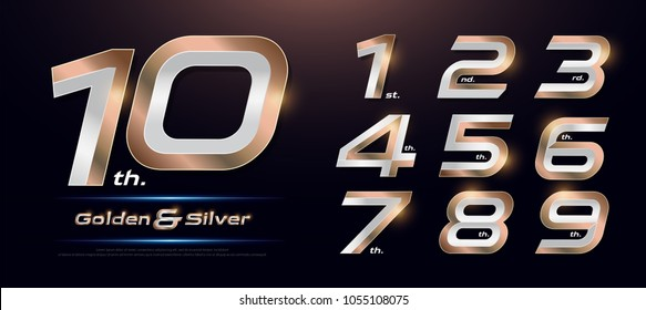 Set of gold metal number. Vector golden and silver numbers. 1, 2, 3, 4, 5, 6, 7, 8, 9, 10, logo design. vector illustration