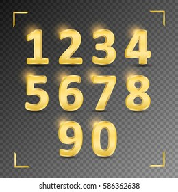Set of gold metal vector numbers, from 1 to 0. Vector image. Transparent background.