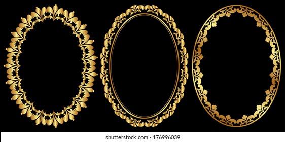 set of gold oval frames