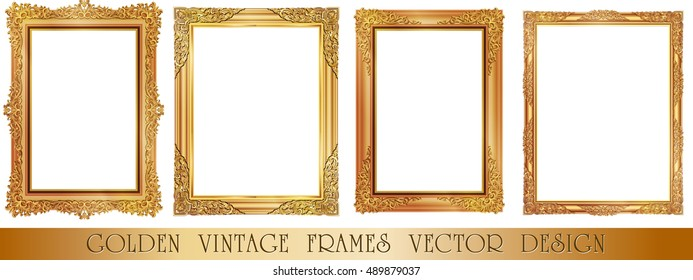 Set of Gold photo frame with corner thailand line floral for picture, Vector design decoration pattern style.frames border design is pattern Thai style