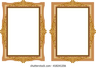 Set of Gold photo frames with corner thailand line floral for picture, Vector frame design decoration pattern style. wood border design is patterned Thai style