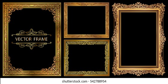 Set of Gold photo frames with corner thailand line floral for picture, Vector frame design decoration pattern style. wood border design is patterned Thai style design