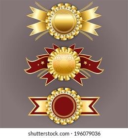 Set of gold and red badges with ribbons. Best quality emblem. Vector champion medals.