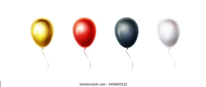Set of gold, red, black, white balloons isolated on white background. Color helium ballon for birthday, party, wedding decoration. Flying. Realistic object collection. Vector illustration. EPS10.