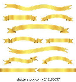Set of gold ribbon banners. Vector illustration.