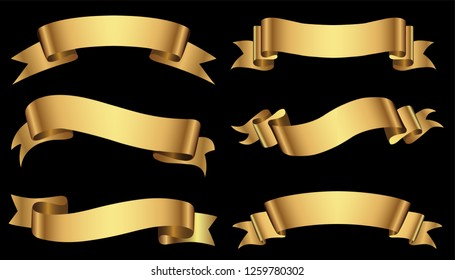 Set of gold ribbons.Golden ribbon banners.