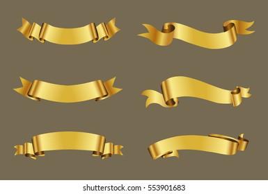 Set of gold ribbons.Golden ribbon banners.Vector illustration.