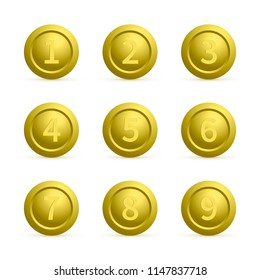 Set of gold round buttons with numbers from 1 to 9 with shadows. Golden buttons isolated on white. Numbered badges vector icons. 3d keys for websites and mobile applications. Easy to edit template.