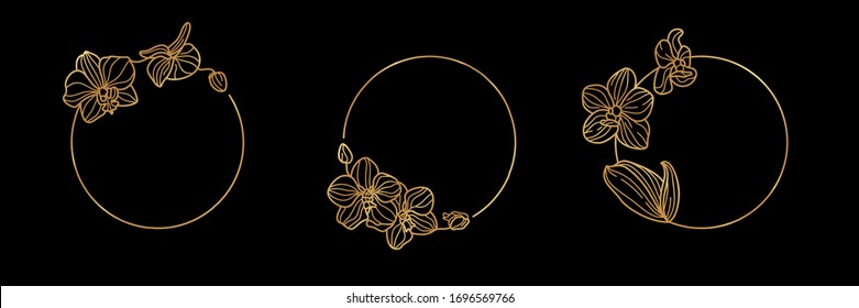 Set of Gold round frame template Orchid Flower and monogram concept in minimal linear style. Vector floral logo with copy space for letter or text. Emblem for Cosmetics, Medicines, Fashion, Beauty