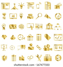 Set of Gold  seo and internet service icons