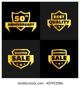 Set of Gold Shield different design. 50th Anniversary, Best Quality, Winter Sale, Summer Sale Shield set, Vector illustration.