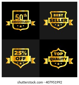 Set of Gold Shield different design. 50th Anniversary, Best Seller, 25th Percent Off, Top Quality Shield Set. Vector illustration.