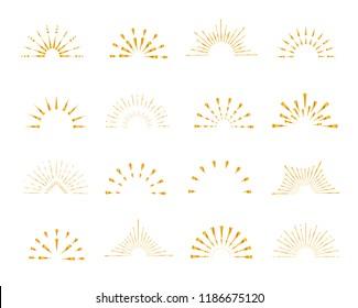 Set of gold shiny sunburst frames, vintage style, halves, isolated on white background. Vector illustration.