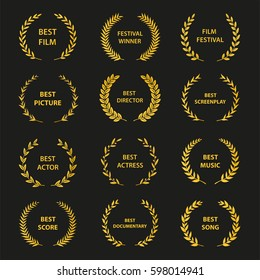Set of gold silhouette film award wreaths on black background. Vector illustration.
