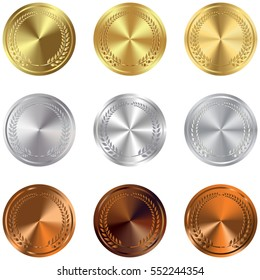 Set of gold, silver and bronze Award medals on white. Vector gold, silver and bronze award medals set isolated on white background. The first, second, third prizes.