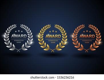 Set of gold, silver and bronze laurel wreath. Winner label, leaf symbol victory with blue background. Vector illustration