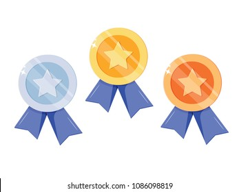 Set of gold, silver, bronze medal with star for first place. Trophy, award for winner isolated on white background. Golden badge with ribbon. Achievement, victory concept. Vector cartoon flat design