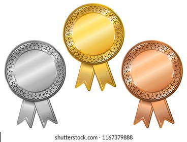 Set of gold, silver and bronze medals.  Blank medals set. Vector illustration.
