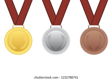 Set of gold, silver and bronze medals isolated on white background. Vector illustration