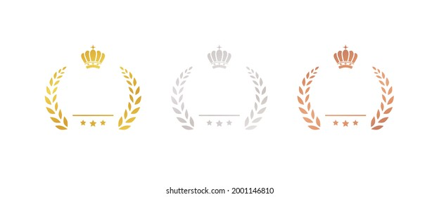 set of gold silver and bronze medals flat icons, award, prize, rank, ranking