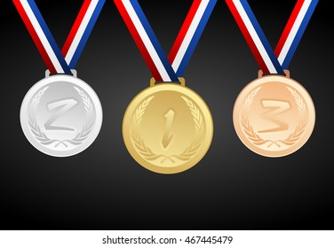 Set of gold, silver and bronze medals with ribbons - vector graphic