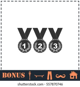 Set of gold silver bronze medals icon flat. Simple vector symbol and bonus icon