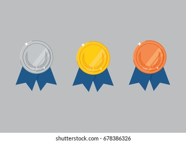 Set Of Gold, Silver And Bronze Medals
