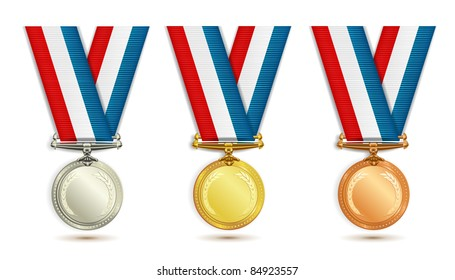 Set of gold, silver and bronze medals with ribbon over white background