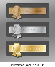 Set of gold, silver & bronze medals for first, second & third places on metal badges with ribbons & roman numerals on gray background.