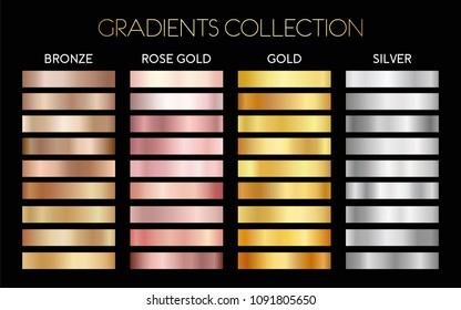 Set of gold, silver, bronze and rose gold foil texture backgrounds.  Vector illustration for frame, ribbon, banner, flyer, card, poster, coin and label. Gradients collection.
