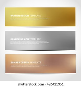 Set of gold, silver, bronze vector banners templates or website headers. Vector design for your banners, headers, footers, flyers, cards. Christmas golden, silver, beige banners