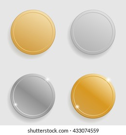 Set of gold and silver coins, medals.