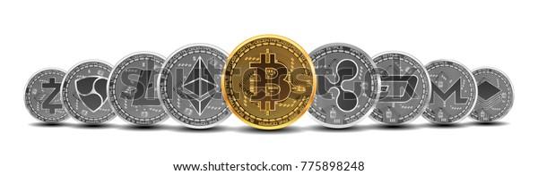 Набор золотых и серебряных криптовалют с золотым биткоином перед другими криптовалютами в качестве лидера, изолированного на белом фоне. Векторная иллюстрация. Используется для логотипов, печатной продукции