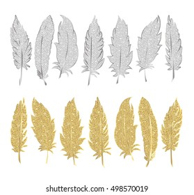 Set of gold and silver feather. Vector illustration. EPS 10.