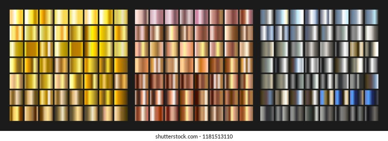 Set of gold, silver and metal gradient. Bright texture element for web design. Isolated vector illustration
