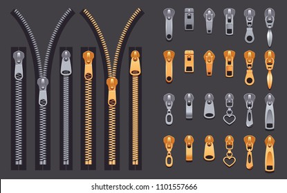 Set of gold and silver metallic closed and open zippers and pullers realistic set isolated on black background vector illustration