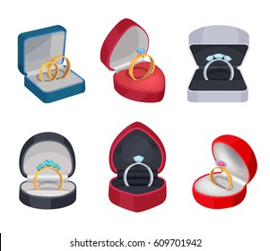 Set of gold and silver rings in various boxes isolated on white. Annulus of different samples with precious stones and sparkling diamonds. Vector illustration of wedding accessory or pleasant surprise