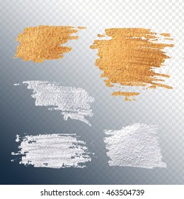 Set gold and silver smear paint stain. Abstract paint spots for luxury advertising. Premium class for the invitation. Bright texture for sale.