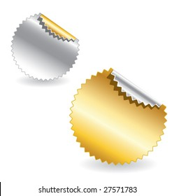 set of gold and silver starburst realistic vector labels