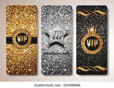 Set of gold and silver VIP cards