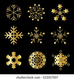 Set of Gold Snowflakes  Vector  Icon Symbol Design. Vector Winter illustration isolated on black background
