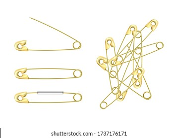 set of gold stainless steel safety  pins, accessory for sewing in different angles, sewing tool for fasten pieces of clothing together.
