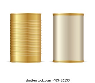 Set of Gold Tin Cans. Vector illustration