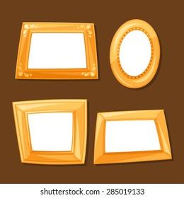 Set of gold various frames on brown background.