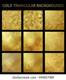 Set of gold vector triangular backgrounds. Geometric background in Origami style with gradient. Vector design for your background, cover, poster, banner, flyer, party invitation card, brochure etc