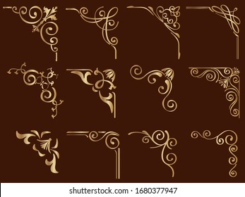 Set of gold vintage frame corners isolated on a dark background. Vector illustration.