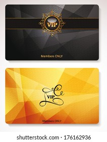 Set of gold Vip cards with the abstract background