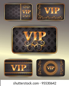 set of gold vip cards with pattern